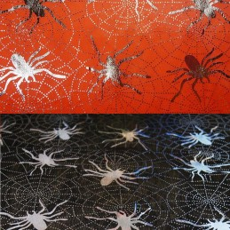 Polyester Silver Foil Halloween Spiders On Spider Webs Creepy Crawlies