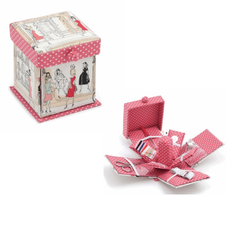 Hobby Gift Sewing Kit Victorian Boulevard Square Shape Ladies Shopping Design