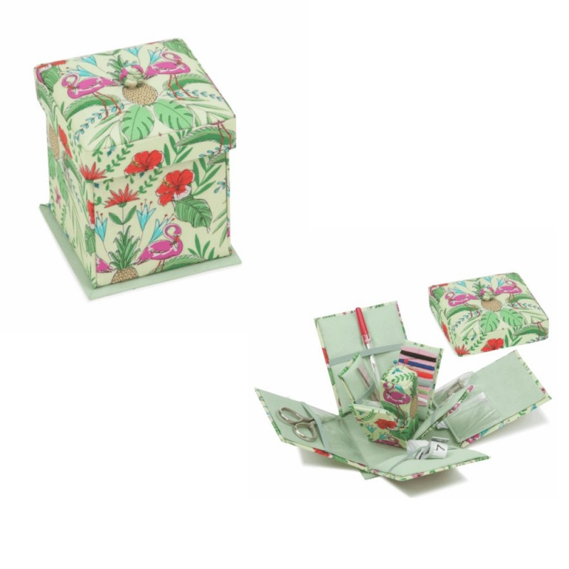 Hobby Gift Sewing Kit Victorian Tropical Lime Square Shape Floral Jungle Design