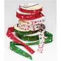 Byetsa 1 Metre 30mm or 18mm Christmas Folded Bias Binding Xmas Trees Stars