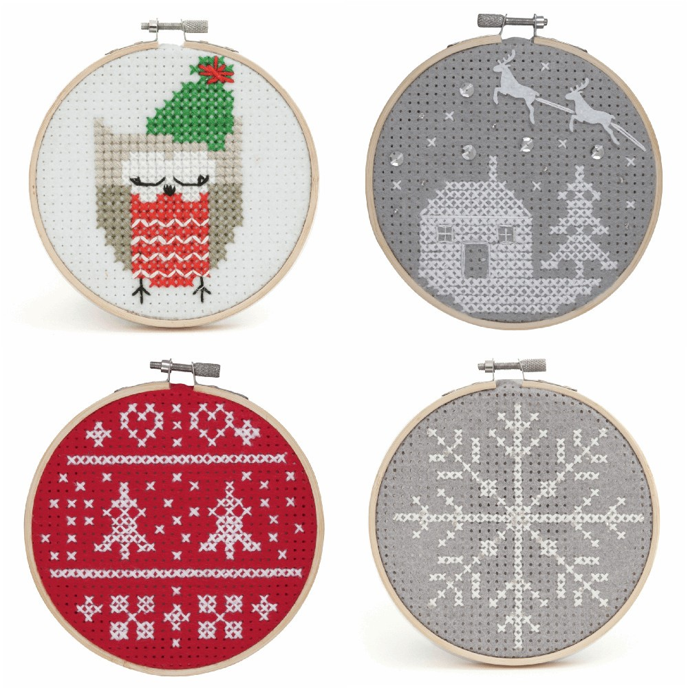 Owl Counted Cross Stitch Kit with Hoop Beginner Level Christmas, Owl