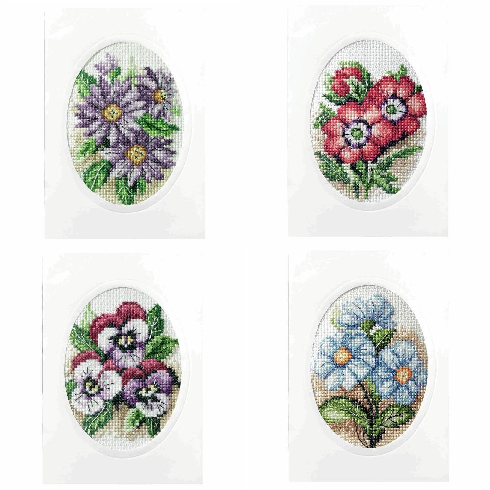 Dahlias Orchidea Cross Stitch Card Kit Floral Flowers