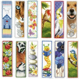 Vervaco Counted Cross Stitch Kit Bookmark Birds Dogs Cats Floral