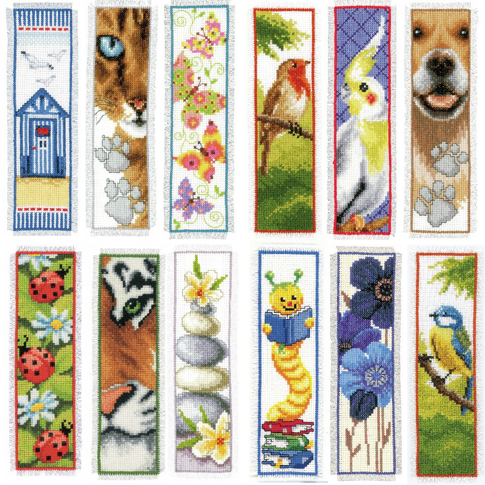 Cat Footprint Vervaco Counted Cross Stitch Kit Bookmark Birds Dogs Cats Floral
