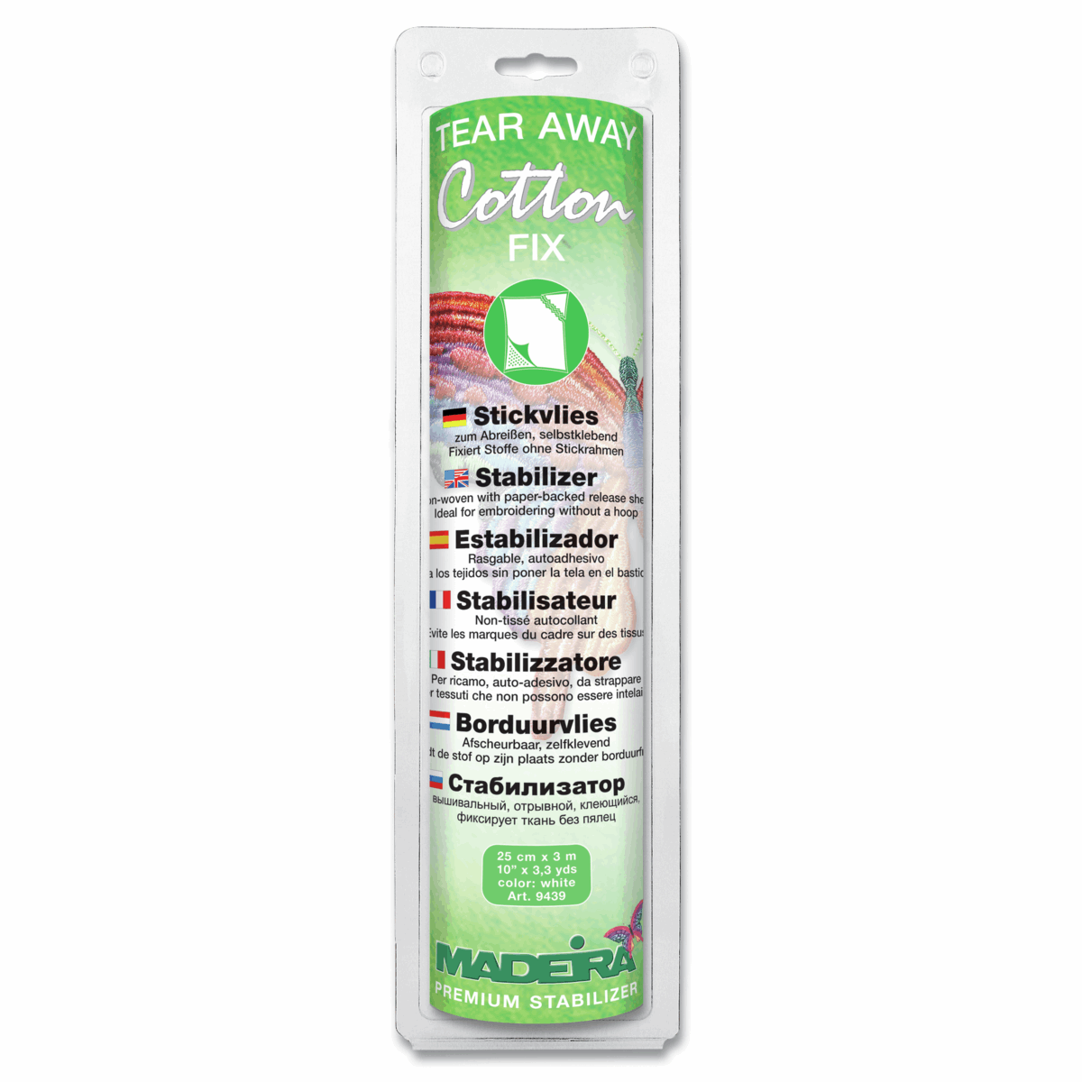 Cotton Soft White Madeira Stabilizer: Tear Away: Super Soft,Stable or Fix