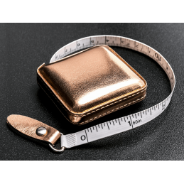 """Tape Measure 150cm/60"""" Retractable Shimmery Rose Gold Fabric Case"""