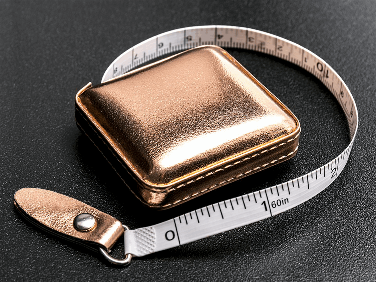 "Tape Measure 150cm/60"" Retractable Shimmery Rose Gold Fabric Case"