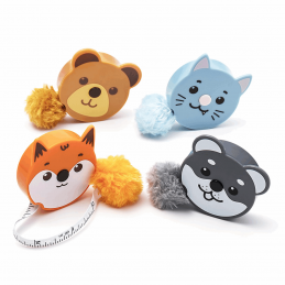 "Fluffy Animals Tape Measure Retractable 150cm/60"" Pom Pom Tail"