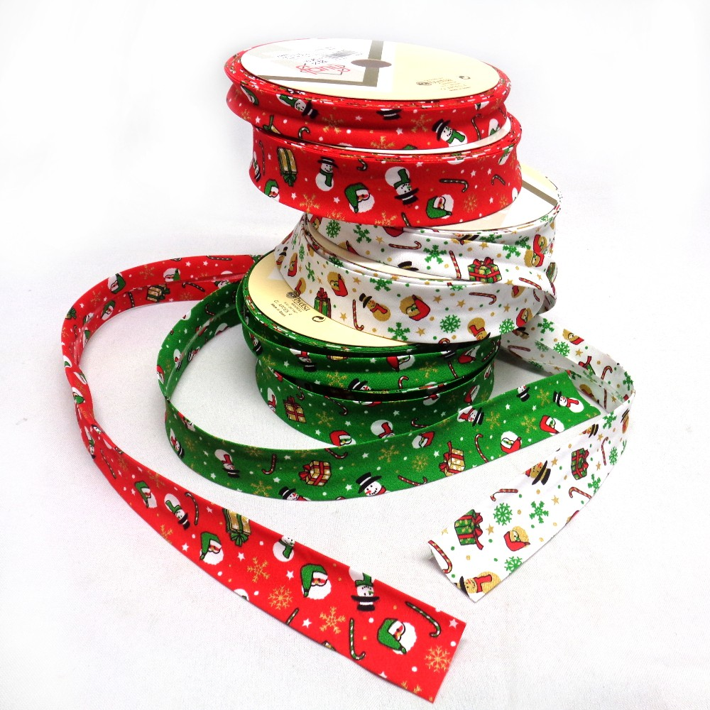 Byetsa 1 Metre 30mm or 18mm  Christmas Folded Bias Binding Xmas Trees Stars