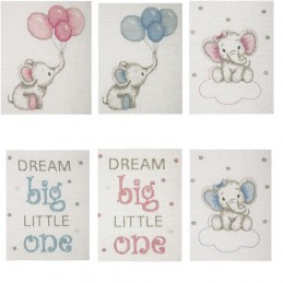 Anchor Counted Cross Stitch Kit Baby Sets Boy Girl Elephant Balloons