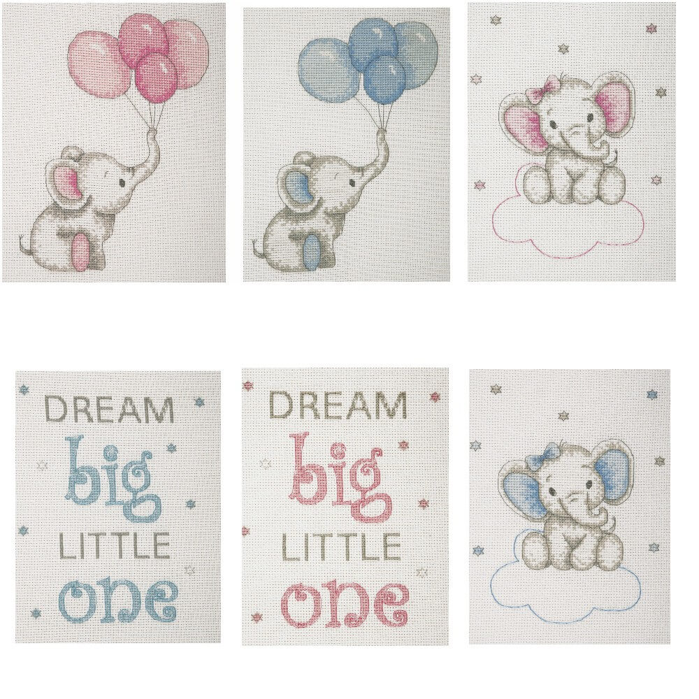 Dream Big Little One Boy Anchor Counted Cross Stitch Kit Baby Sets Boy Girl Elephant Balloons