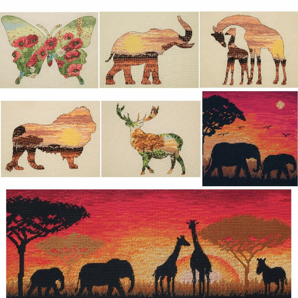 Butterfly Silhouette Cross Stitch Kit: Maia Collection: Elephant,Stag,Butterfly,Giraffe or Lion