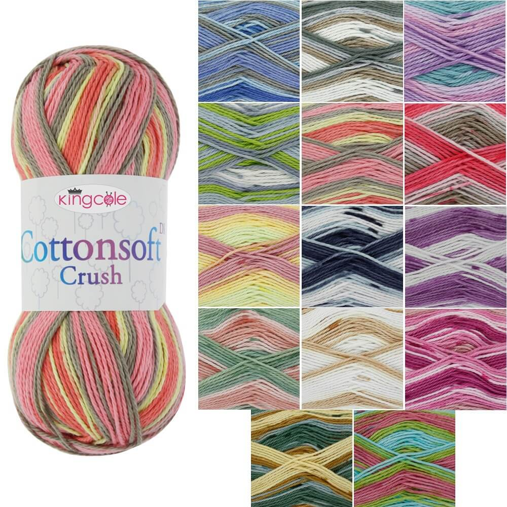 Flora King Cole Cottonsoft Crush DK Knitting Yarn 100% Cotton Crochet