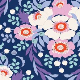 Anemone Night Blue 100% Cotton Fabric Tilda BirdPond Floral Flowers