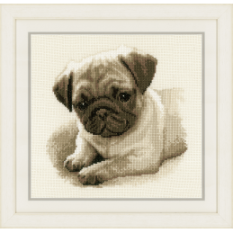 Vervaco Counted Cross Stitch Kit Dog Pug 21cm x 21cm
