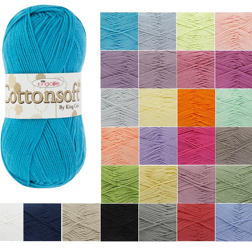 Azure King Cole Cottonsoft DK Knitting Yarn 100% Cotton Crochet 100g