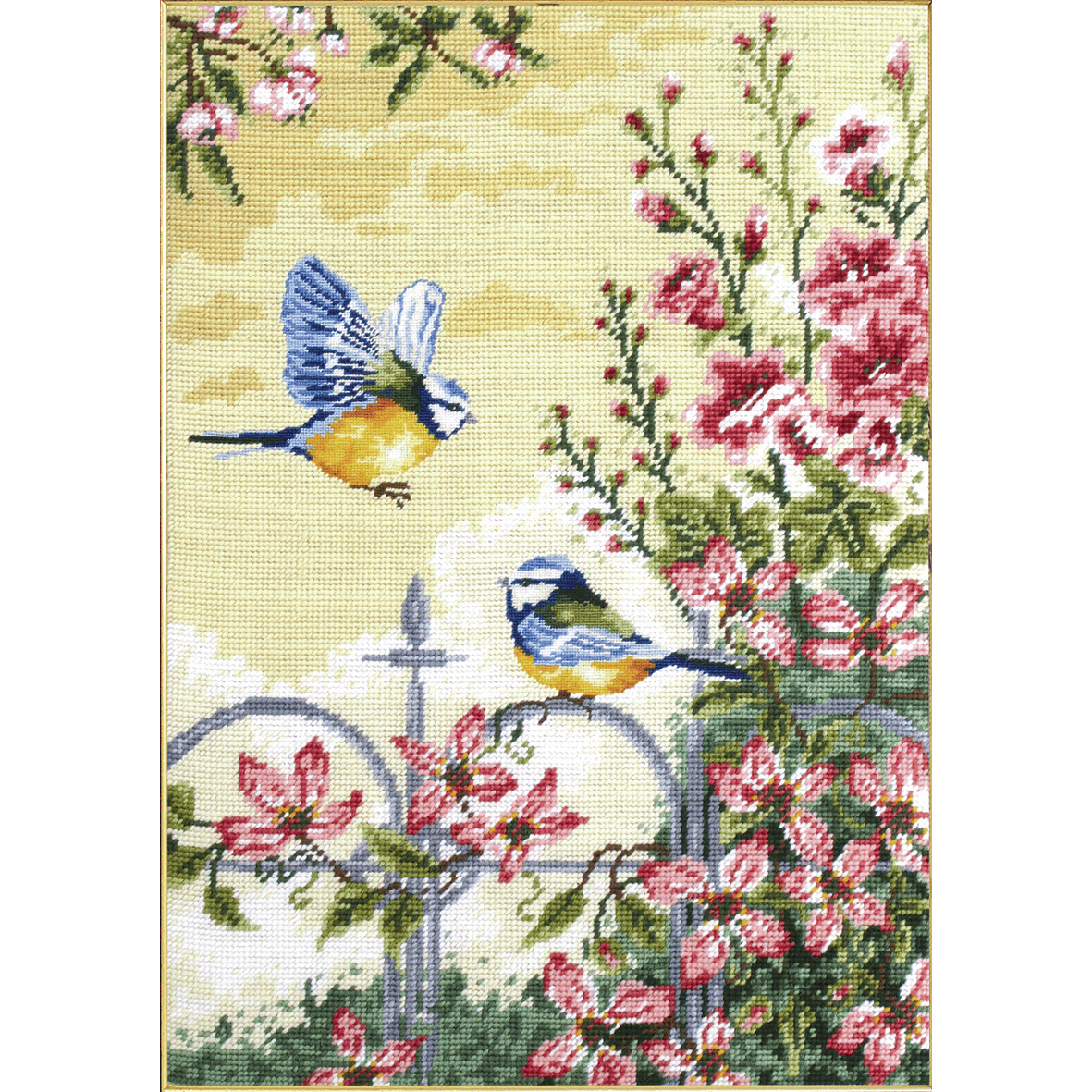 Dimensions Needlepoint Tapestry Kit Floral Railings Blue Tits Birds