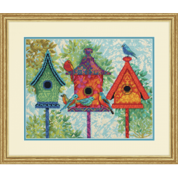Dimensions Needlepoint Tapestry Kit Colorful Birdhouses