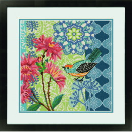 Dimensions Needlepoint Tapestry Kit Blue Floral Bird