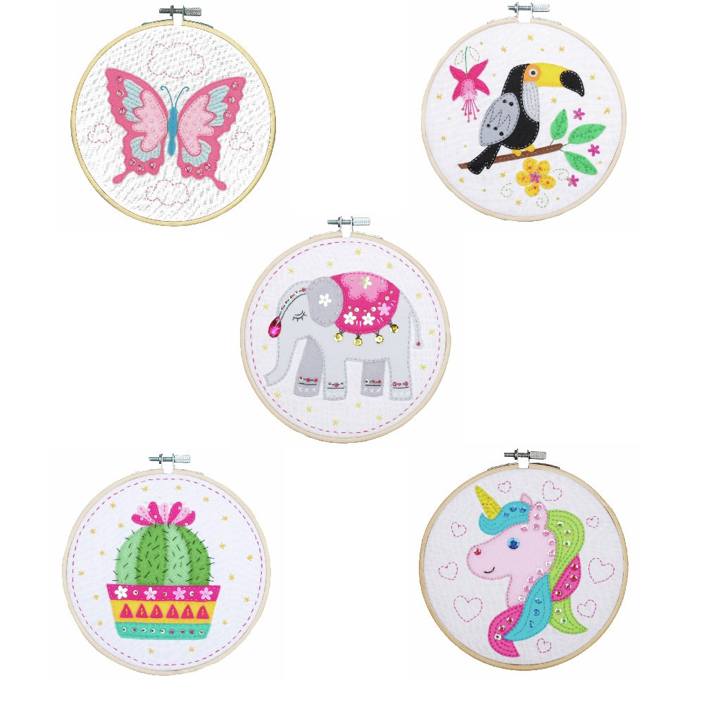 Unicorn Vervaco Embroidery Kit with Hoop Toucan,Unicorn,Elephant,Cactus Or Butterfly