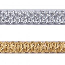 Silver Essential Trimmings 1m x 10mm Metallic Braid Sparkly Trim Plait like