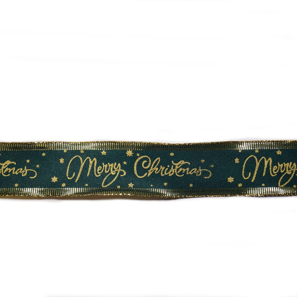Wired Edge Ribbon Merry Christmas Festive Glitter Stars Xmas 1m x 38mm