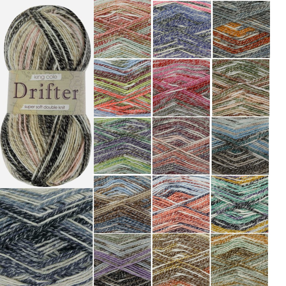 North Carolina King Cole Drifter DK Knitting Yarn Acrylic Cotton Wool Mix 100g