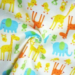 100% Brushed Cotton Winceyette Flannel Fabric Cute Animals Giraffe Duck Frog