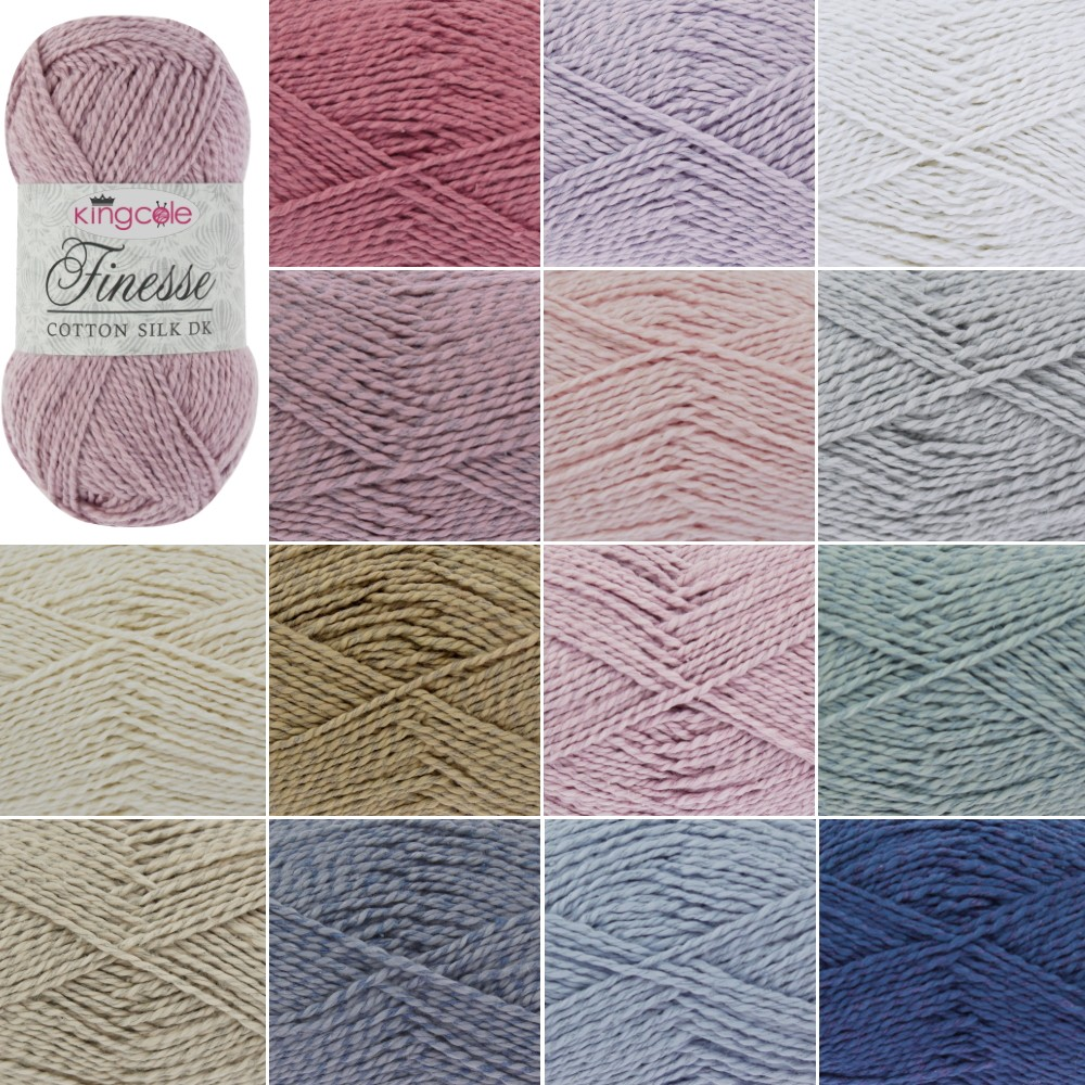 King Cole Finesse Cotton Silk Knitting Yarn 50g Wool White 2810