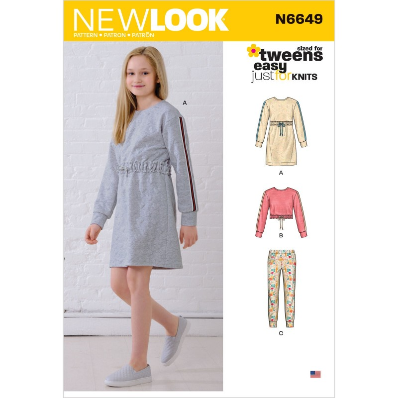 New Look Sewing Pattern 6649 - Girls Knit Dress, Top, Joggers