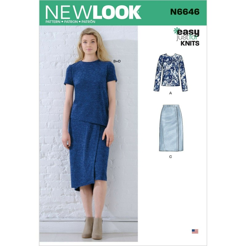 New Look Sewing Pattern N6646 Misses' Knit Tops and Skirts
