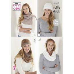 Knitting Pattern King Cole Hats, Cowls & Scarf 5517 Truffle & Merino DK