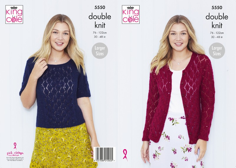 King Cole Knitting Pattern Cardigan & Top Knitted In Galaxy DK 5550