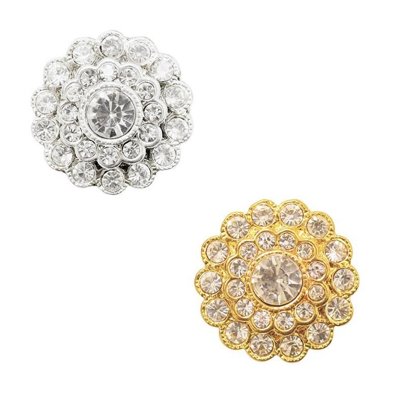 Gold Finestyle 1 x Diamante Button Crystal Rhinestones Flower Head Round 26mm Shank