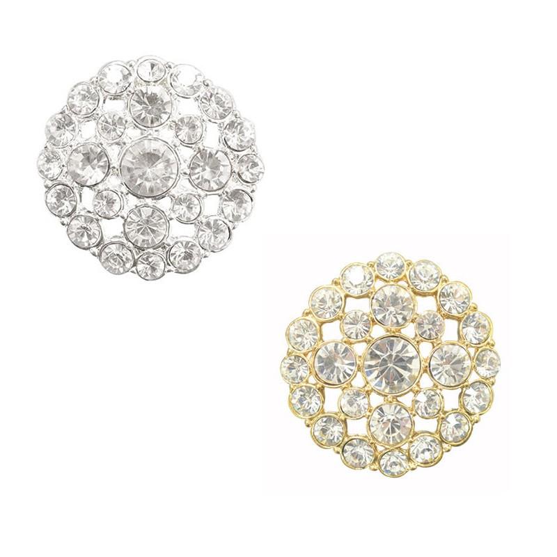 Silver Finestyle 1 x Diamante Button Crystal Rhinestones Round 34mm Shank