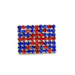 Finestyle 1 x Diamante Button Union Jack Flag Crystal Rhinestone Shank