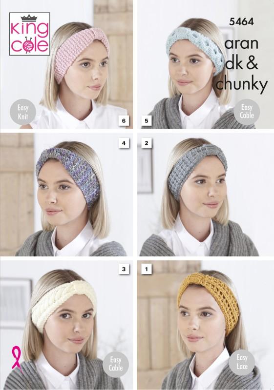 King Cole Knitting Pattern Headbands: Knitted in DK, Aran & Chunky 5464