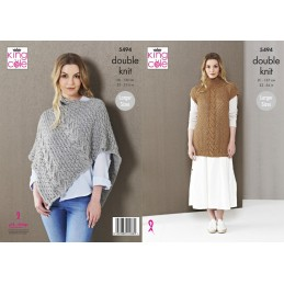 King Cole Knitting Pattern Ladies Poncho, Tunic: Knitted Natural Alpaca DK 5494