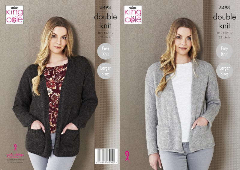 King Cole Knitting Pattern Ladies Edge-To-Edge Jacket: Knitted Natural Alpaca 5493