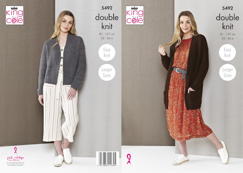 King Cole Knitting Pattern DK Ladies Edge-To-Edge Jacket Natural Alpaca 5492