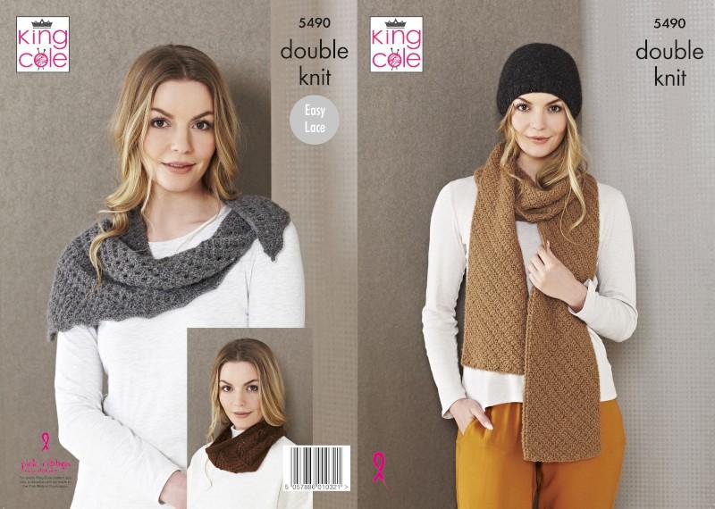 King Cole Knitting Pattern DK Wrap, Snood, Hood & Scarf Natural Alpaca 5490
