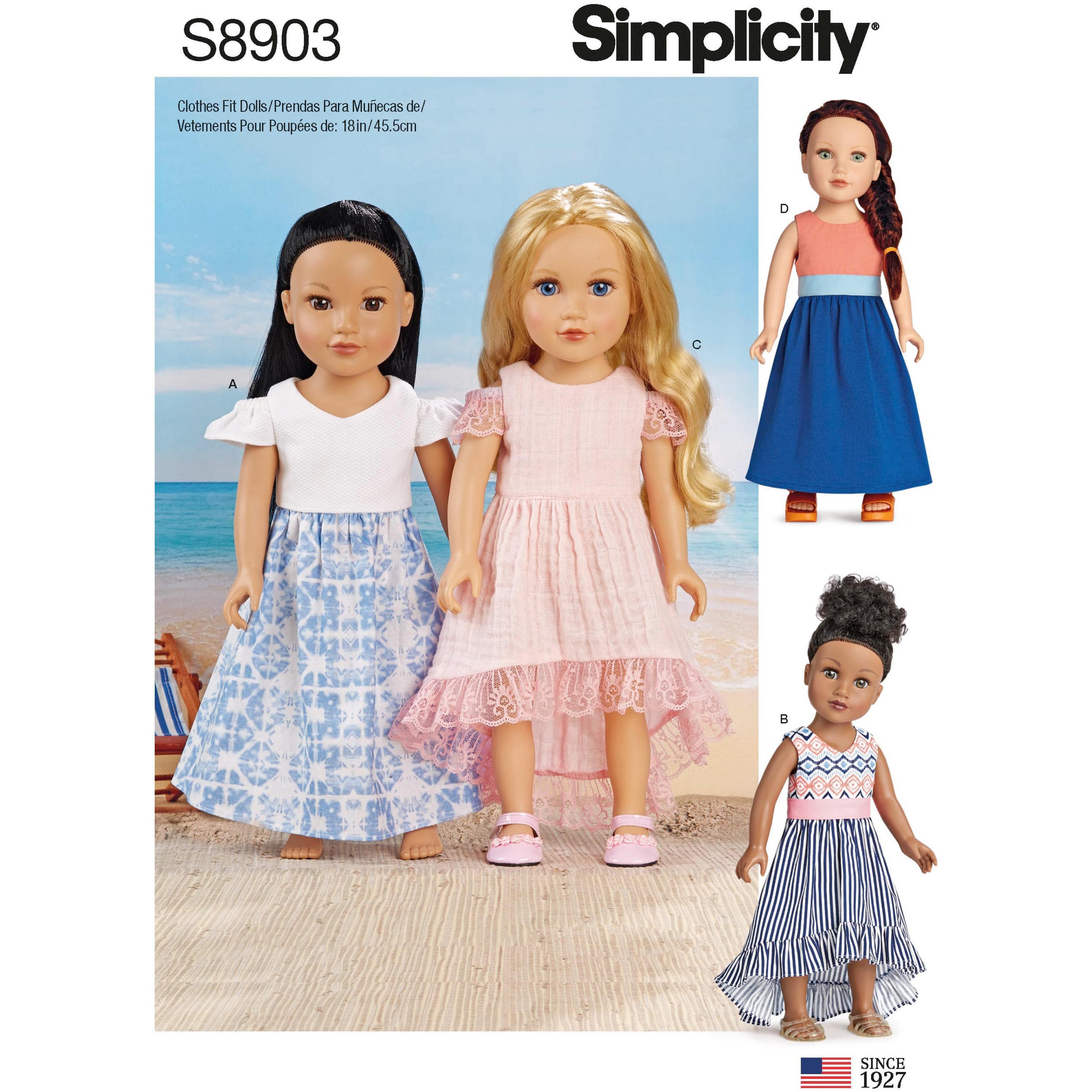 Simplicity Sewing Patterns 8903 Doll Clothes Summer Dresses Craft