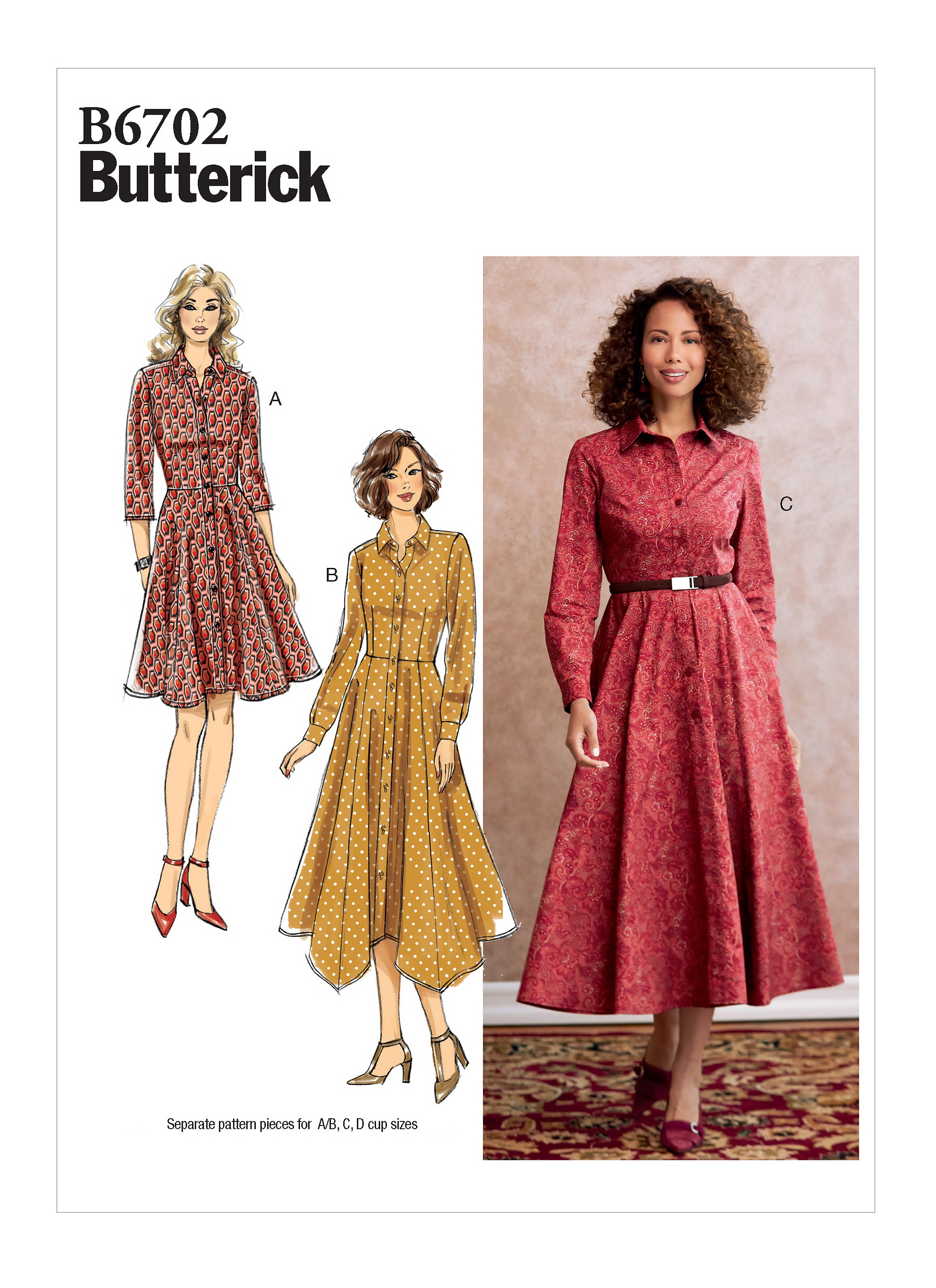 Butterick Sewing Pattern B6702 Misses' Fitted Bodice & Flared Skirt Dress