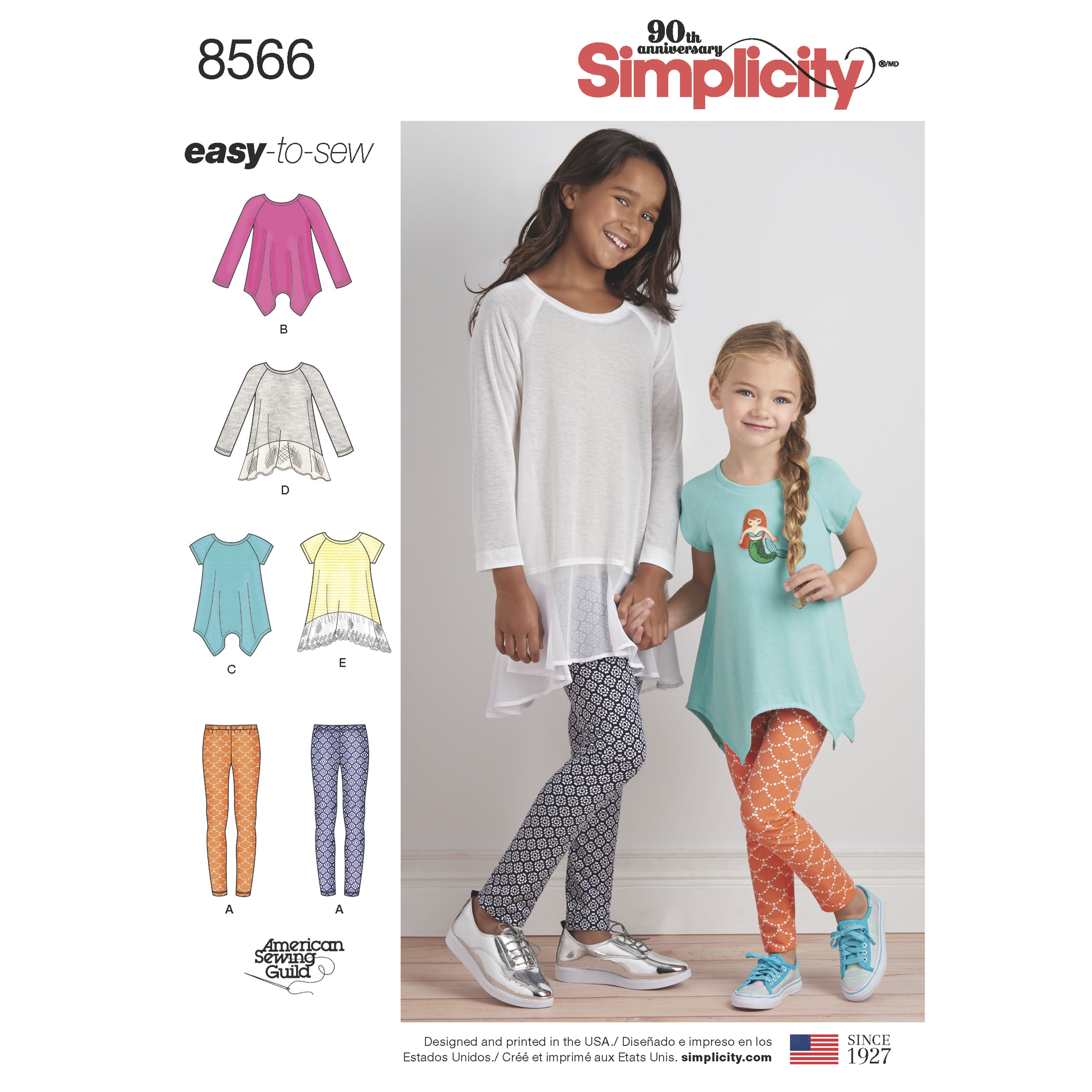 Simplicity Sewing Pattern 8566 Children's & Girl's Tunics Tops and Leggings
