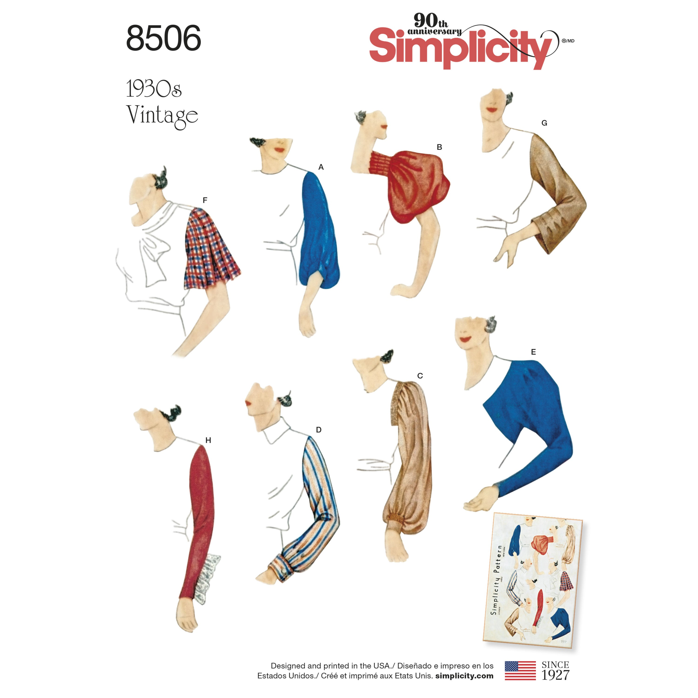 Simplicity Sewing Pattern 8506 Women's Misses' Vintage Set of Sleeves