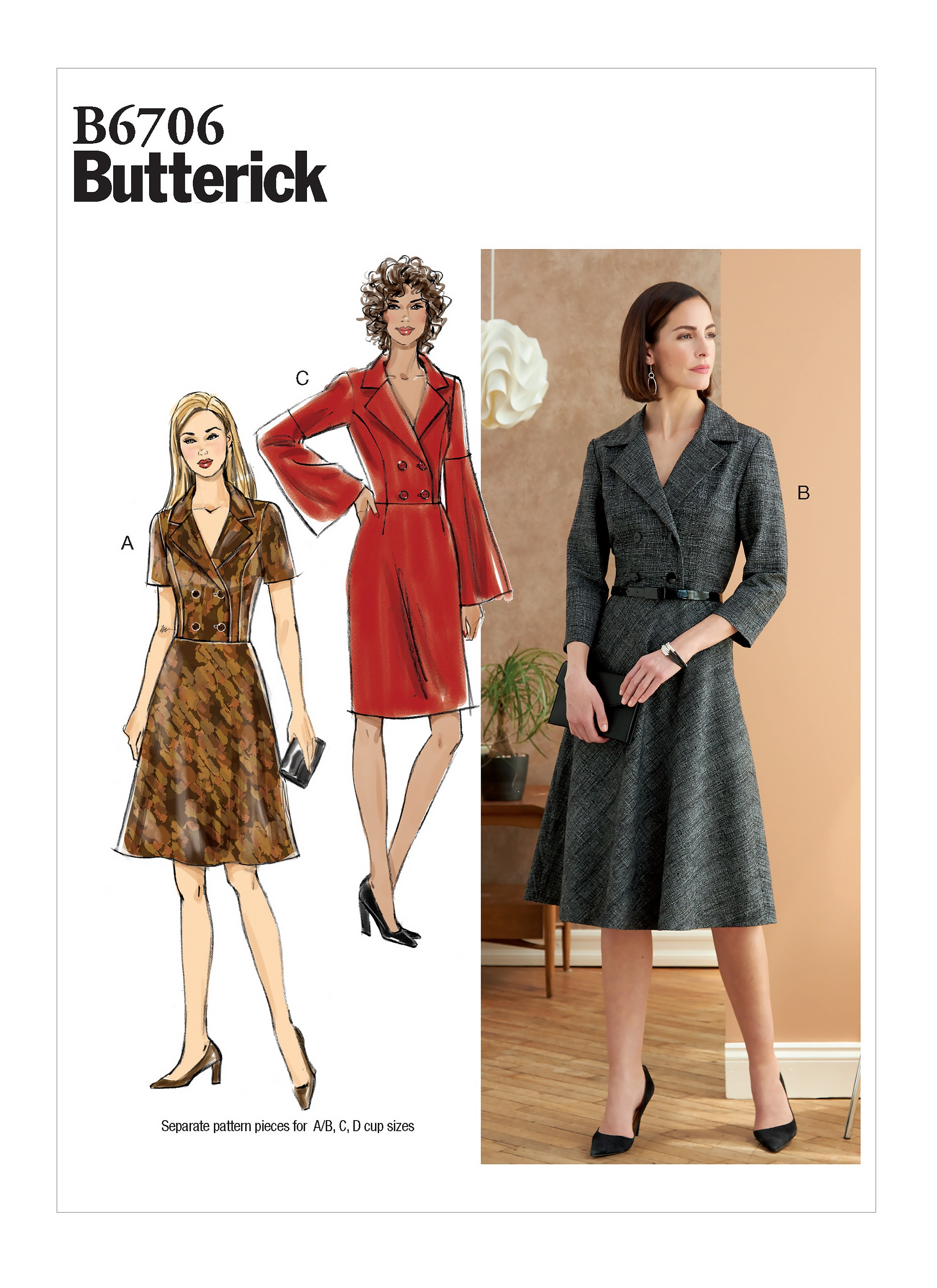 Butterick Sewing Pattern B6706 Misses' Buttoned Up Dress
