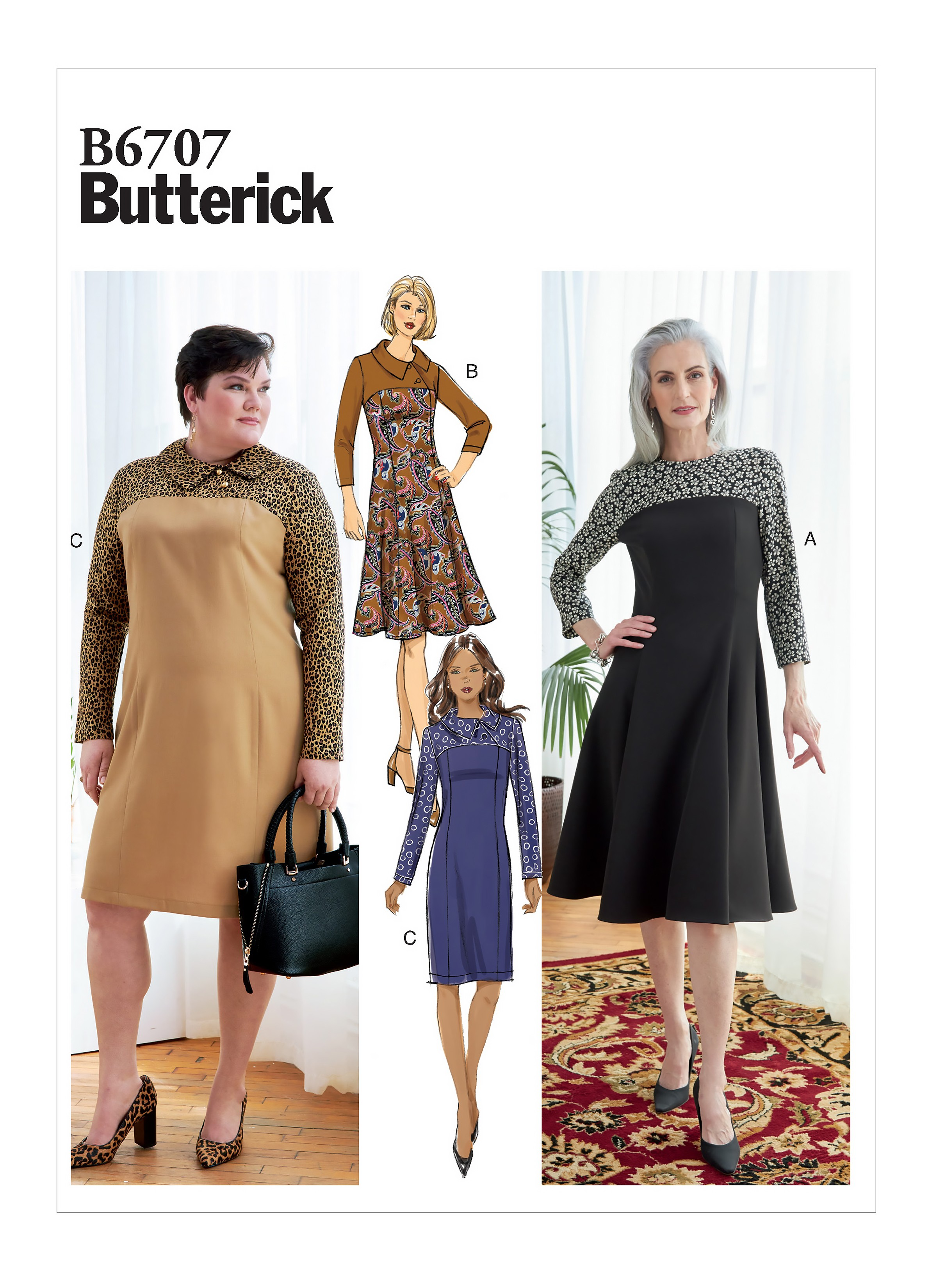 Butterick Sewing Pattern B6707 Womens Fitted Dress With Contrast Yolk
