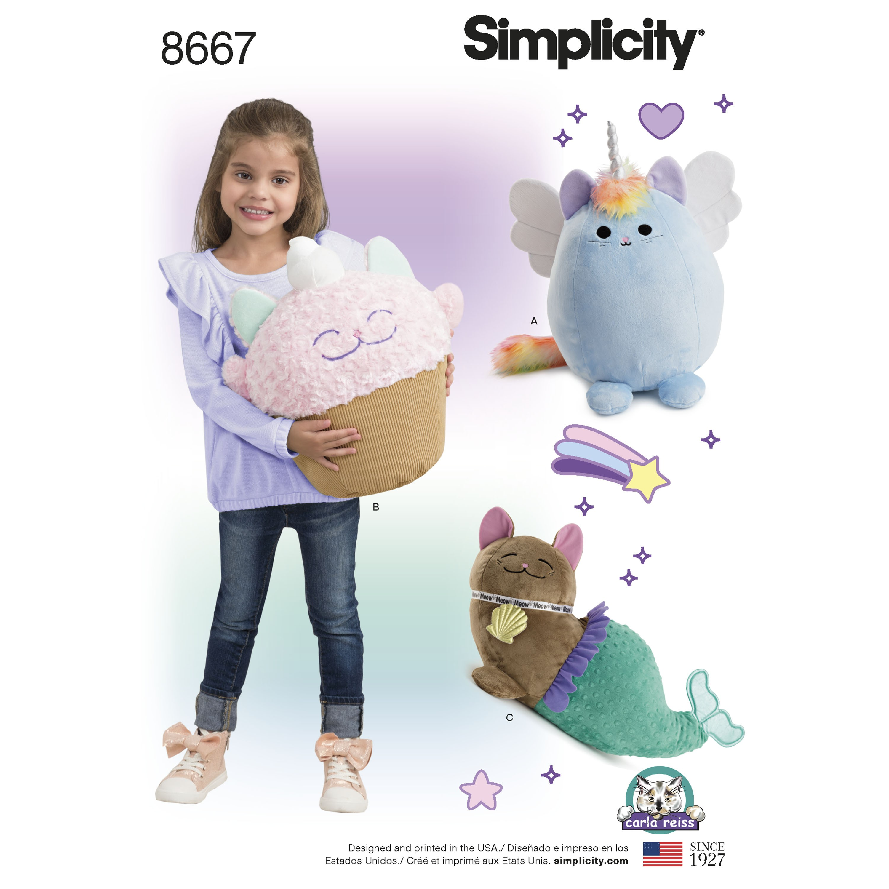 Simplicity Sewing Pattern 8667 Stuffed Cats Kitties Cuddly Toys Animals