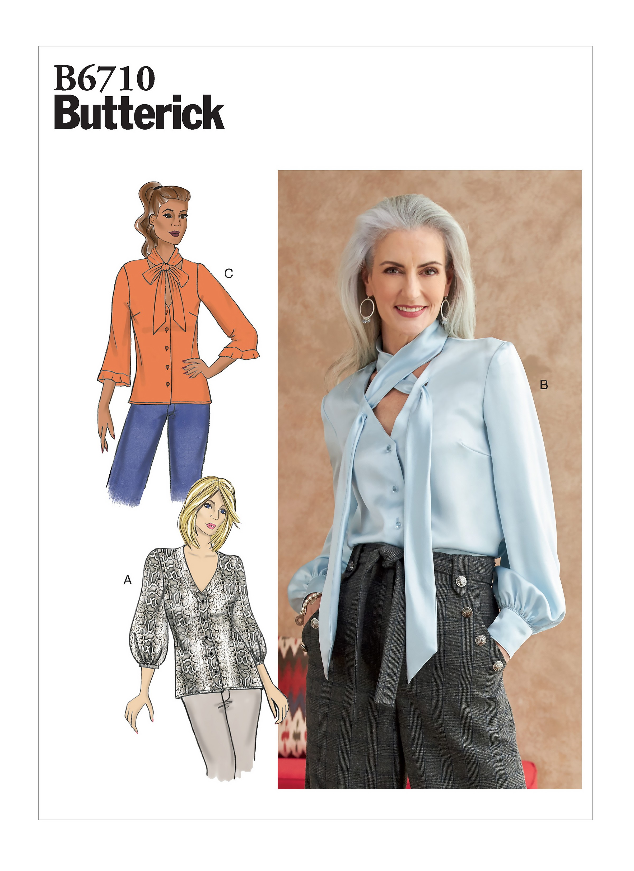 Butterick Sewing Pattern B6710 Women's Loose Fitted Button Up Blouse Top