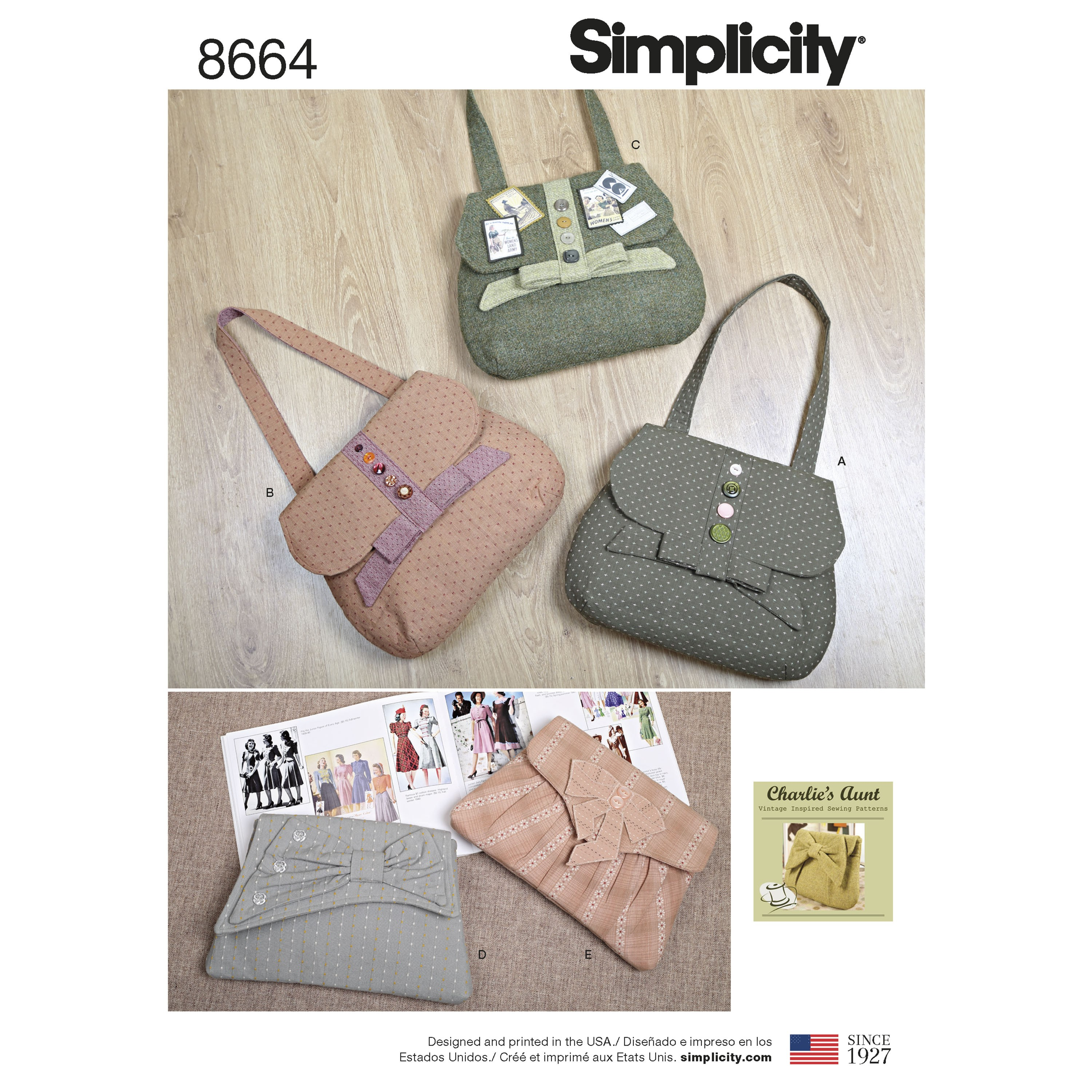 Simplicity Sewing Pattern 8664 Bags Handbags in 4 Styles Purse Clutch